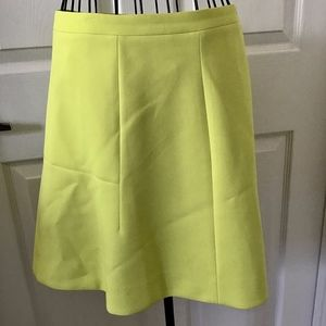 J Crew A-Line Skirt Above Knee Lined Yellow-Green